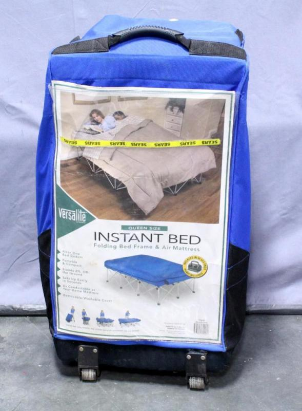 Lot 49 Of 271 Versalite Queen Size Instant Bed Folding Frame And Air Mattress Includes Pump Stands 2 Ft Off Ground Portable Compact Rolling Case