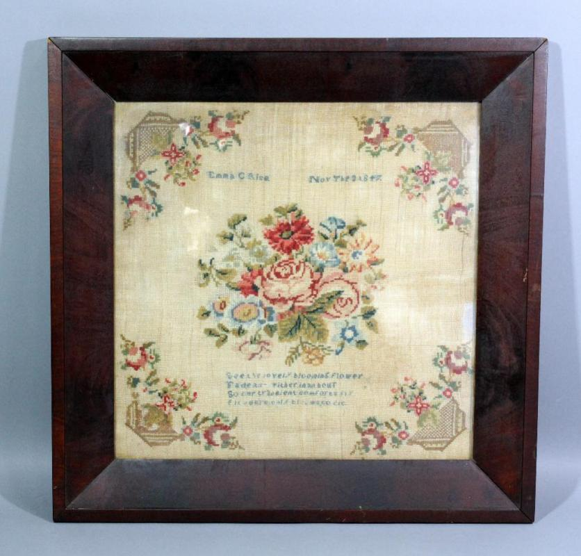 Embroidery Sampler Dated Nov The 3 1847 By Emma C Rice 22 X 22