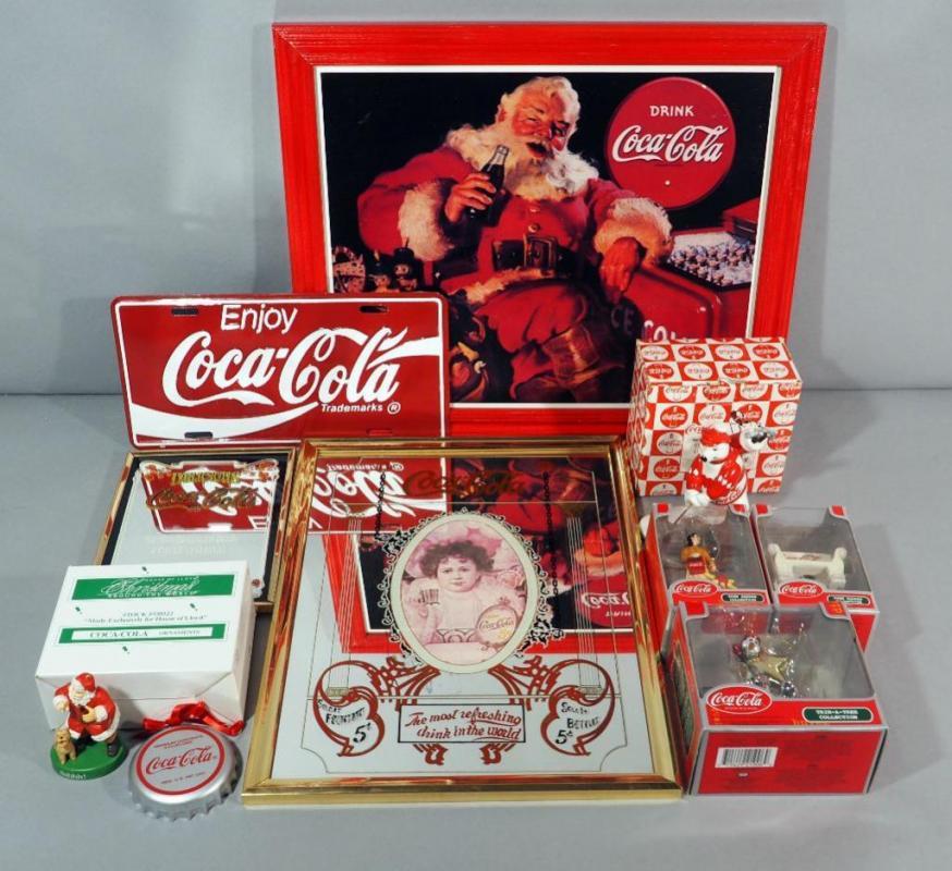 Coca Cola Coke Christmas Ornaments (5), Santa Wall Art, Mirrored ...