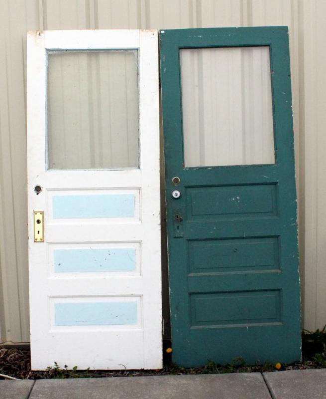 Lot 255 of 271 Vintage Raised Panel Vestibule Doors Qty 2 30 W x 78-1/4 H & Vintage Raised Panel Vestibule Doors Qty 2 30