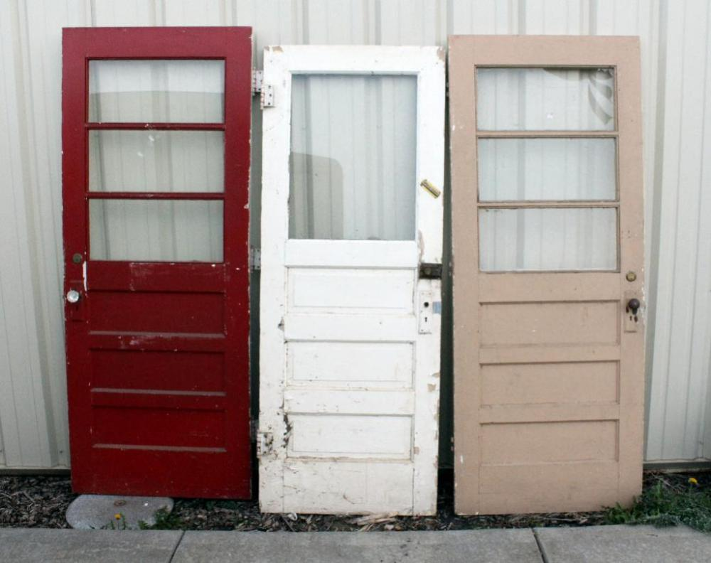 Lot 256 of 271 Vintage Raised Panel Vestibule Doors Qty 3 White Door is 29-3/4 W x 78 H Red Door is 30 W x 78 H and Tan Door is 30 W x 79-5/8 H ... & Vintage Raised Panel Vestibule Doors Qty 3 White Door is 29-3/4