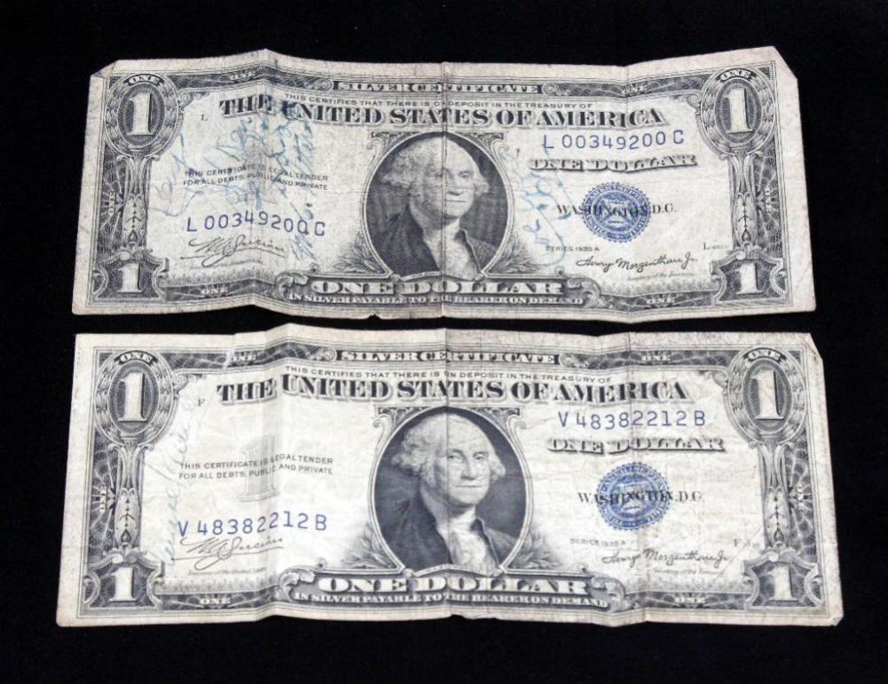 1935 A 1 Silver Certificate Short Snorter Ww2 World War Ii