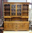 "Ethan Allen ""Early American"" Solid Maple & Birch China Cabinet Hutch with Bubble Glass and Dovetail Constructed Drawers, 6'W x 6'10""H x 17""D"