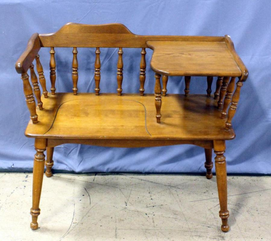Lot 84 of 415: Spindle Back Vintage Gossip Chair / Telephone Table Bench,  33.5