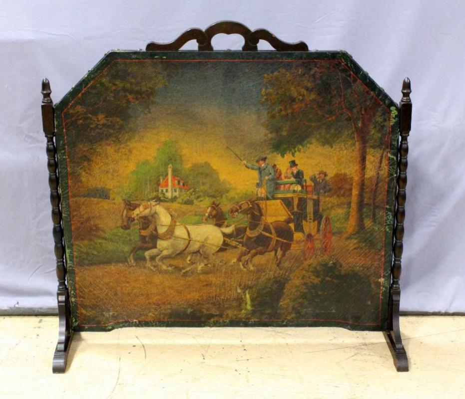 Lot 111 Of 415 Antique Oil On Leather Victorian Horse And Buggy Scene Fireplace Screen Wood Frame Canvas Back 38 5 W X 37 H