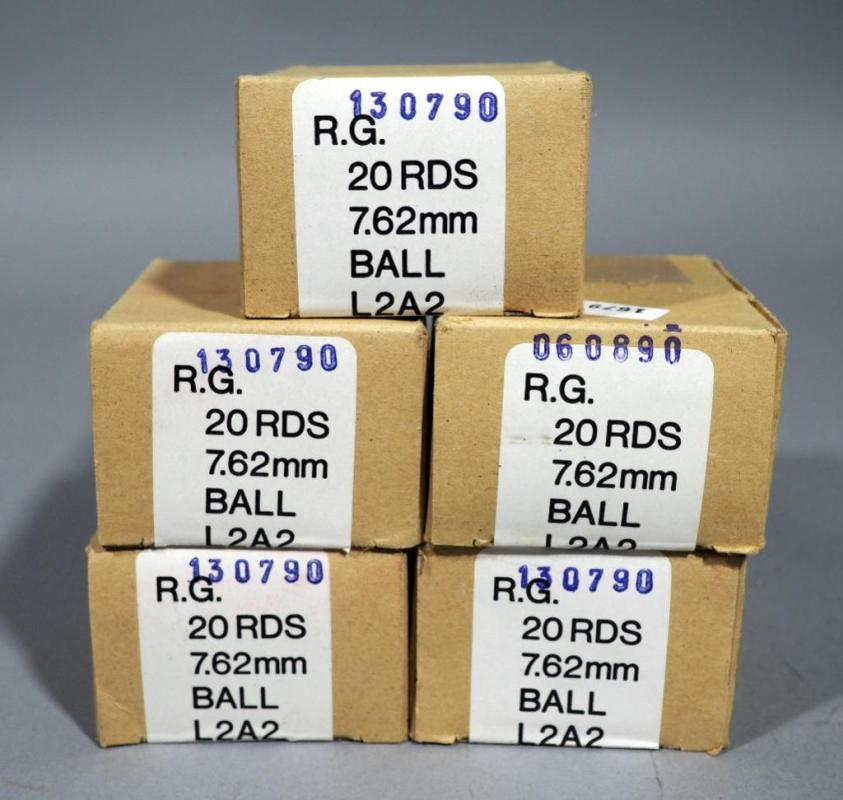 308 Nato / 7 62mm Ball L2A2 Ammo, Qty 5 Boxes x 20 = 100 Total
