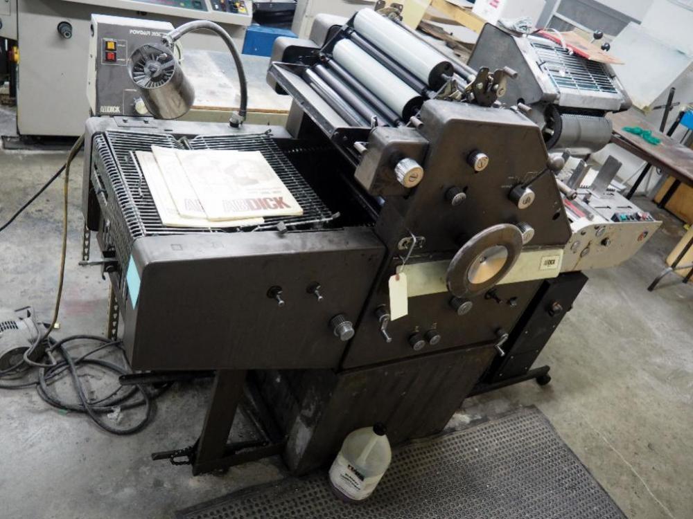 Lot 3 of 166: ABDICK Model 9810 Offset Duplicator, Astro AMC 2000 Envelope  Feeder, Swing Away T51 Color Press