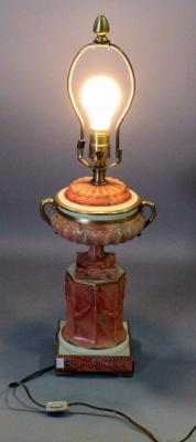 "Marbro Mid Century Italian Porcelain Table Lamp, Hand Painted, 23""H"