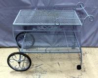 "Outdoor Wrought Iron Patio Cart / Tea Cart, 34.5""L x 18""W x 30.5""H"