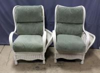 "Bench Craft Wicker Armchairs with Upholstered Cushions and Storage / Cubby Arms, Qty 2, 34""W x 42""H, See Photos"