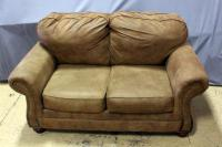 "Ashley Furniture Lariat Saddle Loveseat, 67""W x 41""H x 39""D, Some Wear, See Photos"