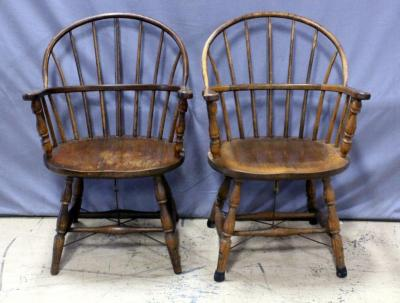"Windsor Back Arm Chairs, Reinforced with Metal Rods, Qty 2, 23.5""W x 36""H"