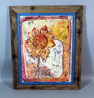 "Beta M Balogh ""Sunflower"" Original Batik Silk Art, Primitive Rustic Frame, 22.5""W x 28""H"