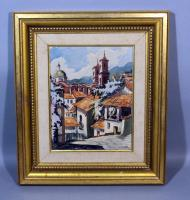 "Original Water Color Spanish Street Scene, Signed, But Illegible, Framed, 17.5""W x 20""H"