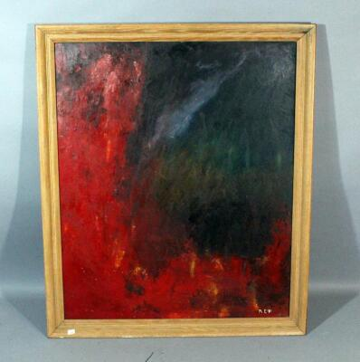 "Original Oil on Board Abstract Painting Signed ""Ace"", Framed, 28""W x 33""H"