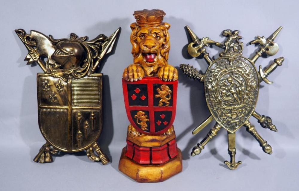 Lot 154 Of 357 Plaster Lion Coat Arms Statue 18 H 7334 Br Wall Decor 16 And Metal Shield With Swords Marked An