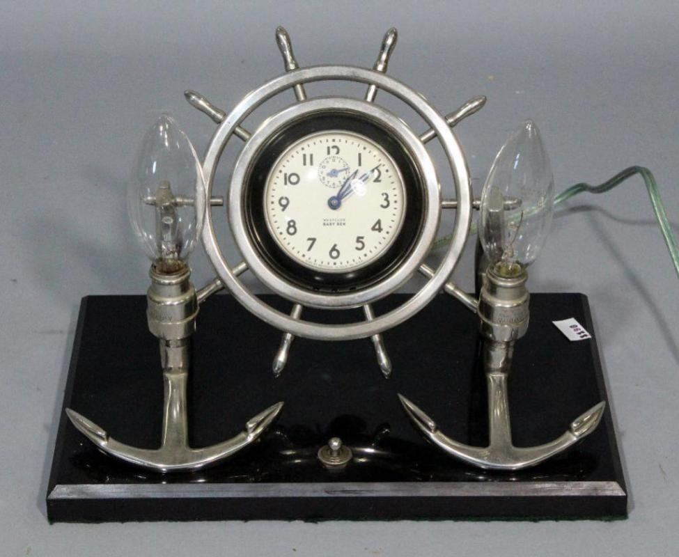 Lot 235 Of 357 Westclox Baby Ben Nautical Ships Wheel Anchor Electrical Desk Clock 10 W X 7 H 6 D