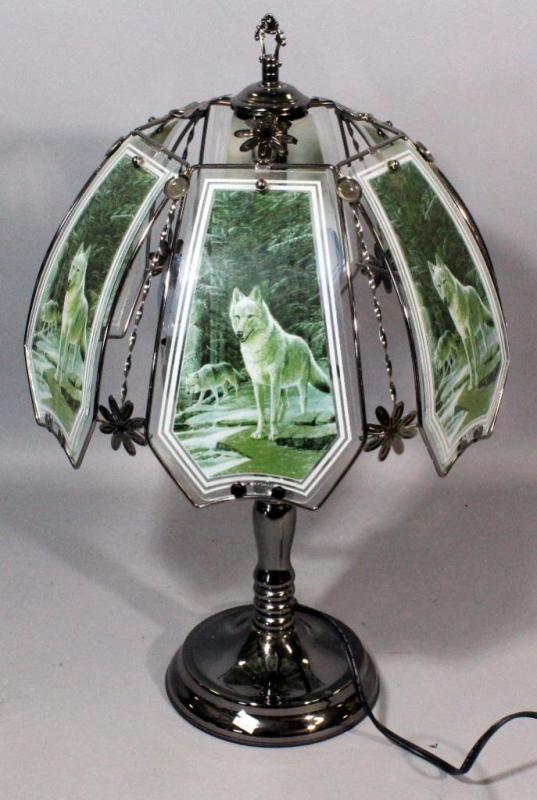 Ok Lighting Gl Shade Wolf Lamp With Metal Base Touch