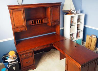"Double Pedestal Executive L-Shaped Desk With Credenza, Desk 28""H x 67.5""W 31""D And 46""W x 25""D, Credenza 77""H x 67.5""W x 12.5""D, Contents Not Included"
