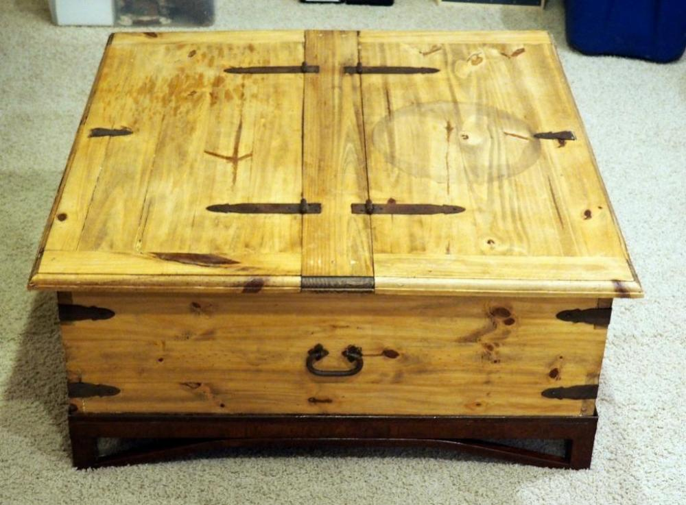 Lot 32 Of 210 Rustic Pine Coffee Table With Iron Accents And Storage 16 5 H X 38 Matches 33