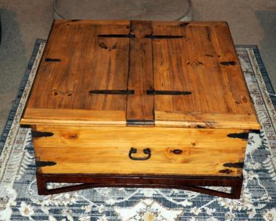 "Rustic Pine Coffee Table With Metal Accents, 16.5""H x 38"" x 38"", Matches Lot 32"