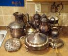 Silver Plate Coffee Pot, Tea Pot, Water Pitcher, Sugar, Creamer And More