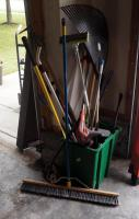 B&D Weed Eater, Edger, Rake, Push Broom, Shuffle Hoe, Shovel And More, Contents Of Tub