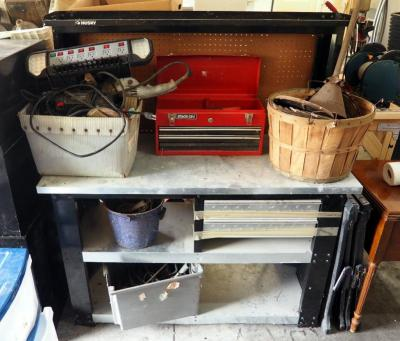 Stack-On Tool Box, Enamel Bucket, Traps, Vintage Electric Tools, Saw Horses And More, Contents Of Work Bench