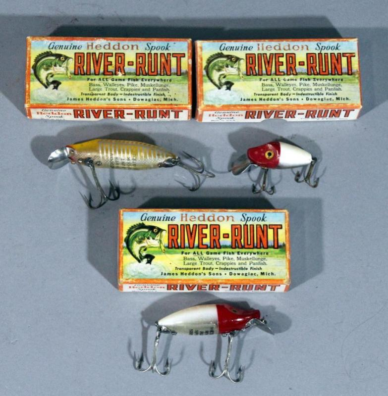 Lot 189 of 253: Vintage Heddon River Runt Wood Fishing Lures with Original  Boxes, Qty 3, Spook Floater, 9110-RH Spook Sinker, and 9020 Midgit Digit
