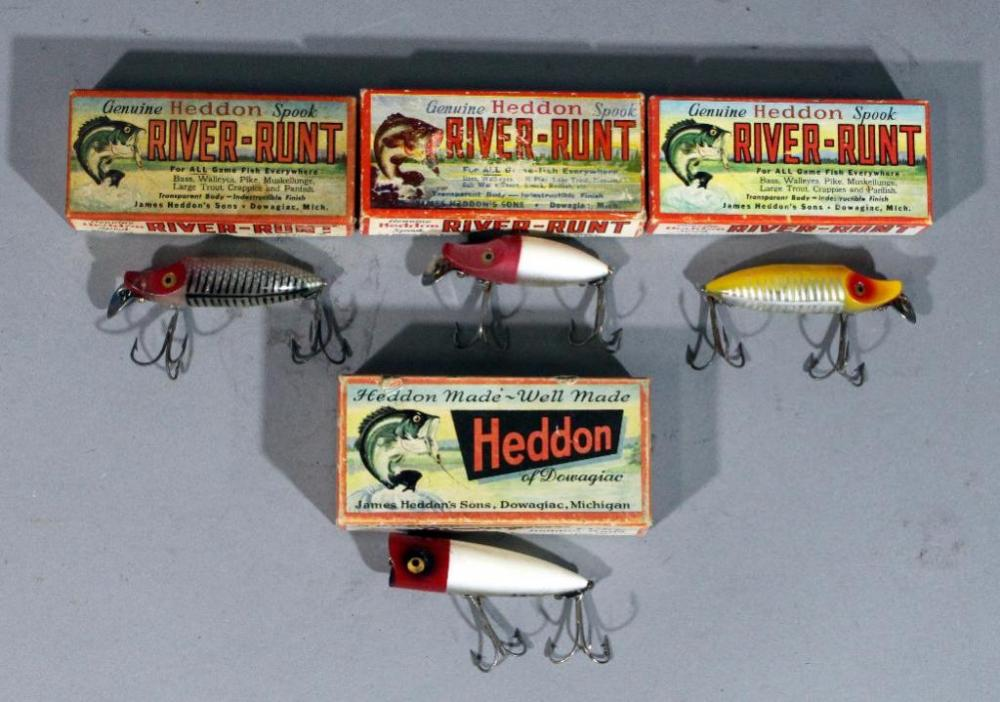 Vintage Heddon Wooden Fishing Lures With Original Boxes Qty 4