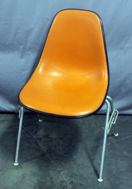 herman miller eames dss shell chair stacking base orange naugahyde