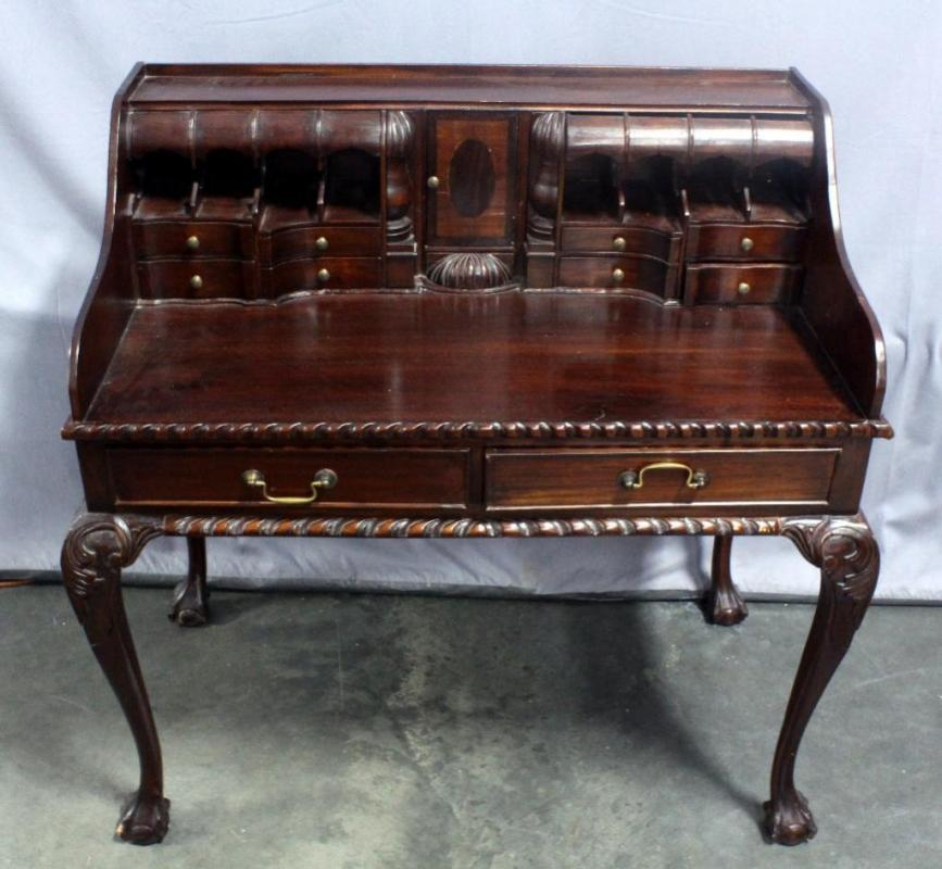Lot 11 Of 203 Chippendale Style Escritoire Writing Desk With Pigeon Holes Claw And Ball Feet Pie Crust Edging Dovetail Constructed Drawers