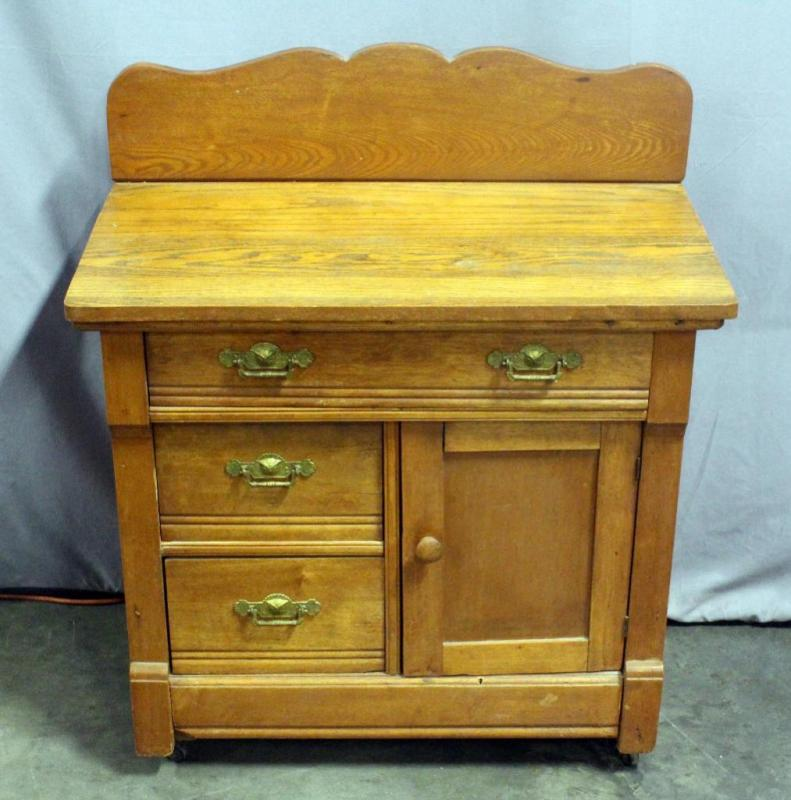 Lot 26 Of 203 Antique Wash Stand Basin Cabinet With Kn Jointed Drawers 32 5 W X 37 H 18 D