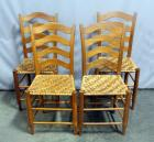 "Curved Ladder Back Dining Chairs with Woven Seats, Qty 4, 17""W x 37""H"
