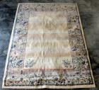 "Area Rug with Floral Border, 130""L x 94""W, Some Wear, See Photos"