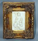 "Madonna and Baby Jesus with Lamb Repousse / Relief Wall Hanging in Ornate Gilt Frame, 10""W x 12.5""H"