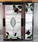 "Floral Stained Glass Window Panels, Qty 2, 11.5""W x 47""H, and 24""W x 46""H, Inscribed with ""N"", See Photos"