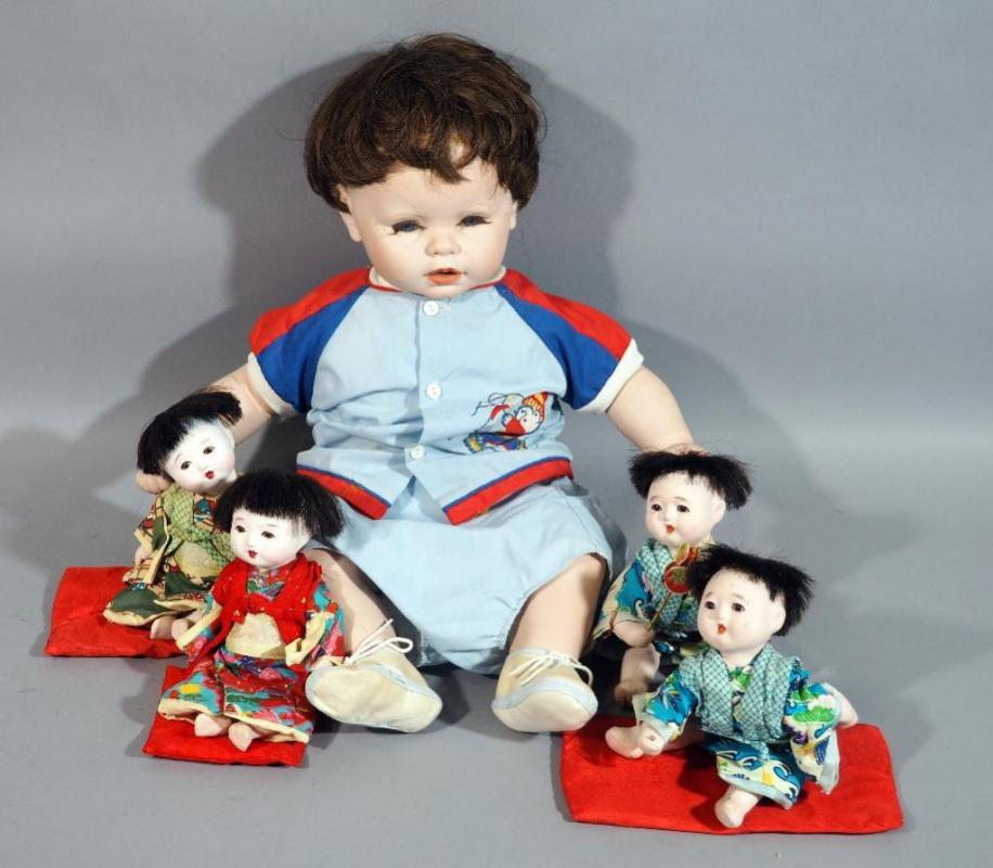 Vintage Japanese Gofun Jointed Composite 9 Baby Dolls With Glass