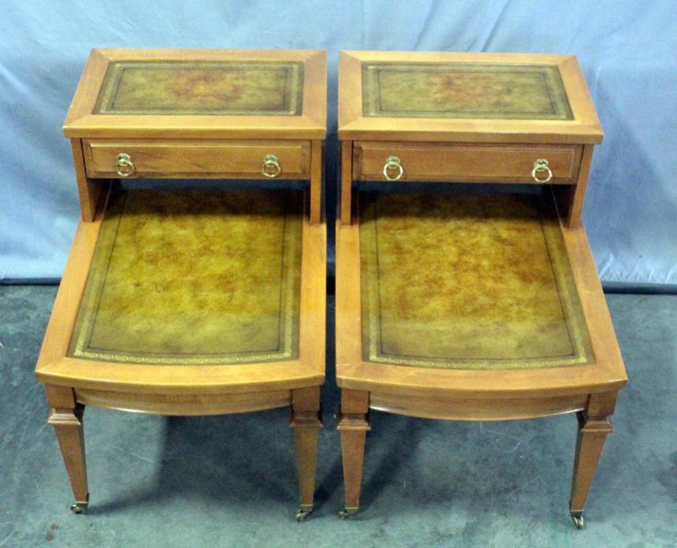 Lot 70 Of 314 Pair Mersman Stair Step 2 Tier End Tables With Leather Inlay And Dovetail Constructed Drawers On Casters 18 5 W X 23 H 28 D