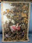 """Indiscretion- The Swing"" Wall Tapestry, Woven in France, Replica of Painting by Fragonard (1732-1806), 3'4""W x 4'10.5""H"