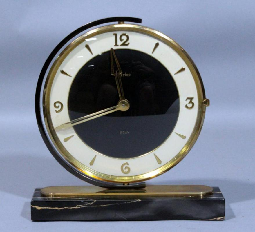 Lot 25 Of 438 Artco Art Deco Desk Clock With Rotating Swivel Face And Marble Base 6 75 Dia X 8 H