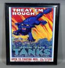 """Treat 'Em Rough! Join the Tanks"" WWI World War 1 US Military Recruitment Poster Repro, Framed, 33.5""W x 41""H"