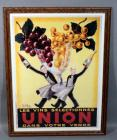 "Roby Les Vins Selectionnes Dans Votre Verre ""Drink a Glass"" French Wine Advertising Nostalgia Poster, Framed, 27""W x 35""H"