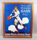 "Renato Berti ""Don du Petrole Hahn"" 1920's / 30's Italian ""Petrole Hahn"" Hair Lotion Rugby Themed Advertising Nostalgia Poster, Framed, 22""W x 26""H"