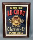 "C Ferrier Marseille ""Savon Le Chat"" ""Soap the Cat"" Vintage French Cat Soap Advertising Nostalgia Poster, Framed, 22""W x 30.5""H"