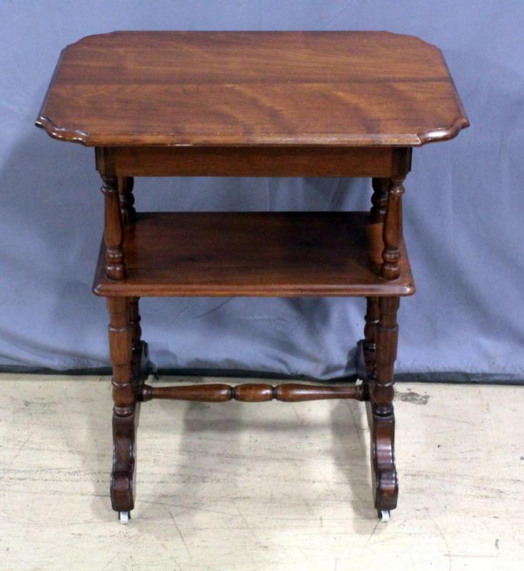 Antique Two Tier Flip Top Accent Game Table With Storage