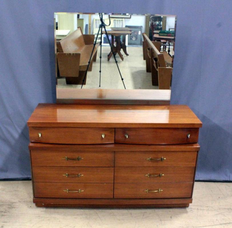 Basset Furniture Mid Century Modern Dresser w/ Beveled Glass ...