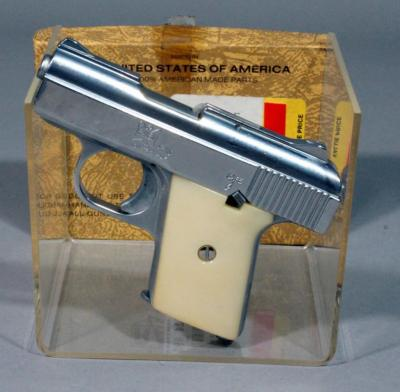 Raven Arms Model MP-25 Pocket Pistol, .25 Auto, SN# 1658480, Conceal & Carry, Chrome with Faux Ivory Grips, Original Box & Paperwork