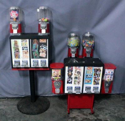 6-Way Vending Combo Unit- 2 Sticker/Tattoo Flat Machines & 4 Gumball/Capsule Machines, & T Stand w/ 2 Tattoo/Sticker Machines & 2 Gumball , See Info