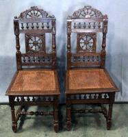 "Antique French Renaissance Style Dining Chairs with Ornate Spindle Accents, Carved Details, and Woven Cane Seats, Qty 2, 18""W x 41""H"